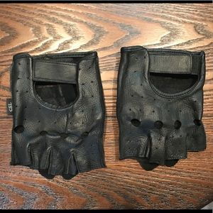 Black Leather Fingerless Riding Gloves - Sz. XL